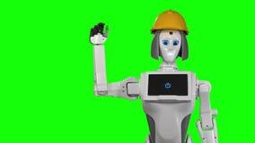Roboter im Sturzhelm eines orange Erbauers bewegt hallo wellenartig Grüner Bildschirm Langsame Bewegung stock footage