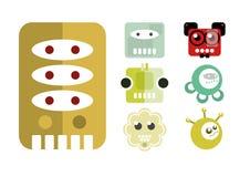 Roboter, Karikatur, Charakter-Ikone Stockbilder