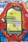 Roboter-Kondom-Graffiti Lizenzfreie Stockbilder