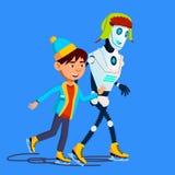 Roboter läuft auf Eis mit Kind im Winter-Vektor eis Getrennte Abbildung stock abbildung
