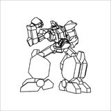 Roboter-Linie Kunst vektor abbildung