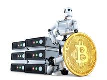 Roboter mit Bergbaubauernhof und Gold-bitcoin prägen Abbildung 3D I Stockbild