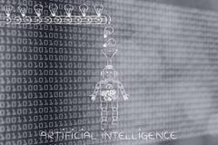 Roboter mit dem Trichter, der Ideen u. Wissen, künstliches Intel sammelt Stockfotografie