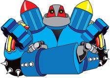 Roboter mit den Armen kreuzte Stockbild