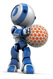 Roboter mit einer Kugel Lizenzfreie Stockfotografie