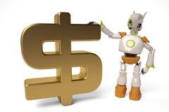 Roboter mit Golddollarzeichen, Illustration 3D Lizenzfreie Stockfotos
