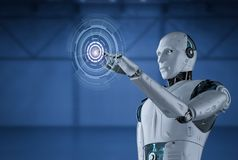 Roboter mit grafischer Anzeige lizenzfreie abbildung