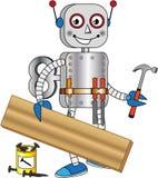 Roboter mit Hilfsmitteln für das Arbeits Holz lizenzfreie abbildung