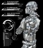 Roboter mit Köpfen zeigen oben an Stockbilder