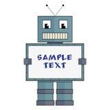 Roboter mit Kasten für Beispieltext Stockfotografie