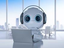Roboter mit Kopfhörer und Notizbuch stock abbildung