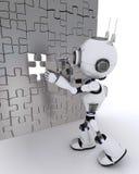 Roboter mit Laubsäge Stockfotografie