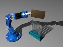 Roboter mit Prüfunggefäß Stockfotos
