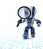 Roboter mit Vergrößerungsglas Stockbild