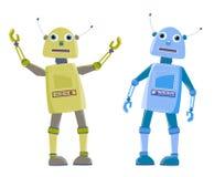 Roboter mit zwei Karikaturen Lizenzfreie Stockfotos