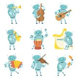 Roboter-Musiker, die Musikinstrumente Satz, Roboter spielt Cello, Gitarre, Saxophon, Trommel, Harfe, Akkordeon, Violine spielen lizenzfreie abbildung