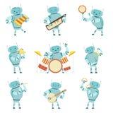 Roboter-Musiker, die Musikinstrumente Satz, Roboter spielt Xylophon, Harmonika, Tamburin, Dreieck, Flöte, Trommel spielen stock abbildung