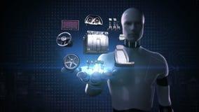 Roboter, offene Palme des Cyborg, elektronisch, Lithium-Ionen-Batterie-Echoauto Aufladungsautobatterie umweltfreundliches zukünft vektor abbildung
