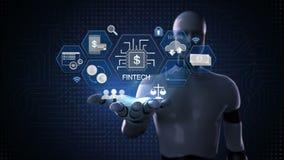 Roboter, offene Palme des Cyborg, Finanztechnologieillustrationsikone und verschiedenes Diagramm 1 stock abbildung