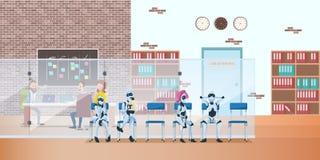 Roboter-Reihe im modernen Büro-Wartezeit-Vorstellungsgespräch lizenzfreie abbildung