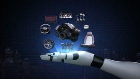 Roboter ` s Arm, Fahrzeug zerteilt, Maschine, Sitz, Instrumentenbrett, Navigation, Gaspedal, Audiovideosystem, Reifen stock video footage