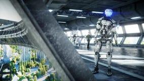 Roboter in Sci FI-tonnel Konzept von Zukunft Wiedergabe 3d vektor abbildung