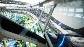 Roboter in Sci FI-tonnel Konzept von Zukunft Wiedergabe 3d Wiedergabe 3d stock abbildung