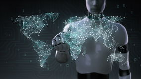 Roboter, Touch Screen des Cyborg, verschiedene Gesundheitswesentechnologieikone schließen globale Weltkarte, Punkte macht Weltkar
