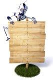 Roboter und Anschlagtafel Lizenzfreie Stockfotos