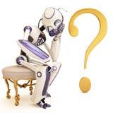 Roboter und Frage Stockbild