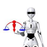 Roboter und Gerechtigkeit Stockfotografie