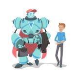 Roboter und Geschäftsmann Stockbild