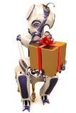 Roboter und Geschenk Lizenzfreies Stockfoto