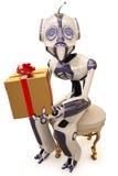 Roboter und Geschenk Stockbilder
