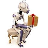 Roboter und Geschenk Stockfotografie