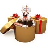 Roboter und Geschenk Stockfotos
