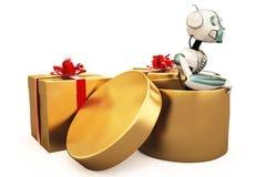 Roboter und Geschenk Lizenzfreies Stockbild