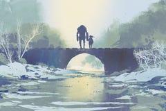 Roboter und kleines Mädchen, die auf Brücke im Winter stehen