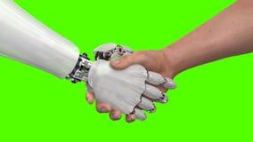 Roboter und Mann, die Hände auf einem grünen Hintergrund rütteln 3d übertragen stockfoto
