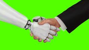 Roboter und Mann, die Hände auf einem grünen Hintergrund rütteln 3d übertragen stockbild