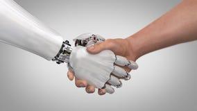 Roboter und Mann, die Hände rütteln 3d übertragen lizenzfreie stockfotografie
