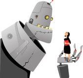 Roboter und Mensch Stockfotografie