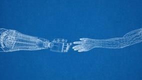 Roboter- und menschliches Handdesign - Architekt Blueprint stockbild