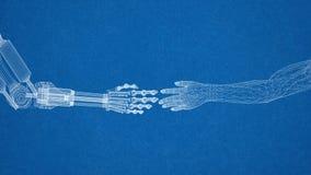 Roboter- und menschliches Handdesign - Architekt Blueprint lizenzfreie stockbilder