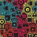 Roboter und Monster kühlen nahtloses Muster ab. Stockbild