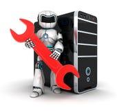 Roboter und rote Taste Stockbild