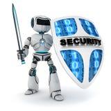 Roboter und Schild Lizenzfreie Stockfotos