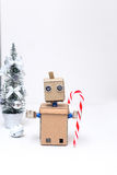 Roboter- und Weihnachtsdekoration und neues Jahr Süßigkeit Stockbild
