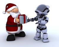 Roboter und Weihnachtsmann Stockbild