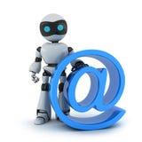 Roboter- und Zeichen-E-Mail Lizenzfreie Stockfotos